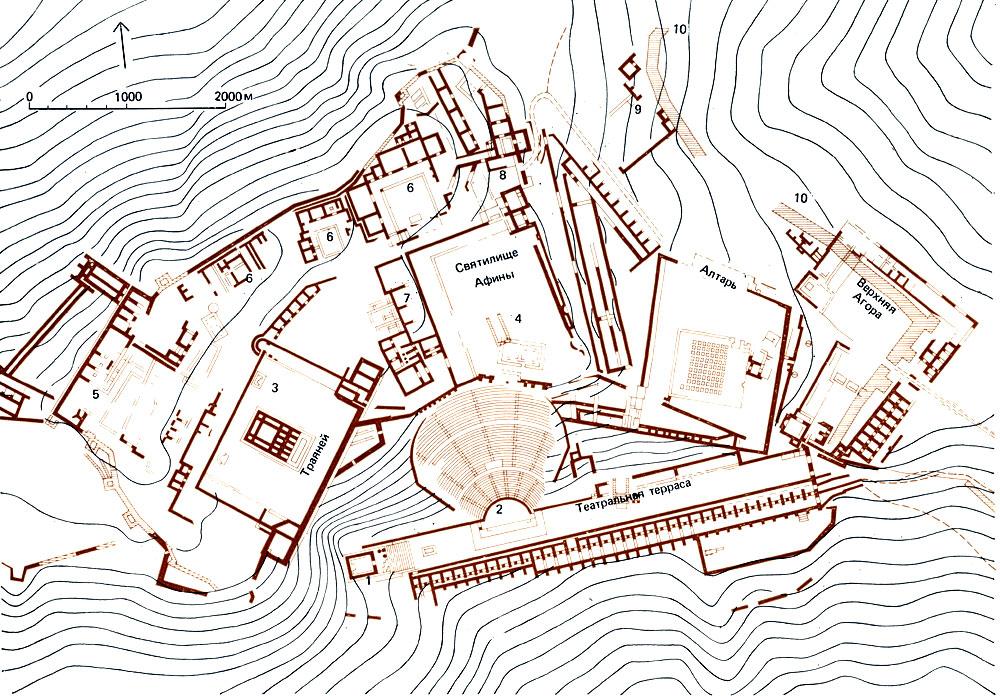 Пергам. План акрополя и верхней агоры по раскопкам: 1 - ионический храмик на террасе театра (так называемый храм Каракаллы); 2 - театр; 3 - храм Траяна; 4 - остатки фундаментов периптерального храма Афины; 5 - казармы и к северо-западу от них - арсенал; 6 - дворцы пергамских царей; 7 - библиотека; 8 - ворота акрополя; 9 - Героон; 10 - стены византийского периода. http://townevolution.ru/
