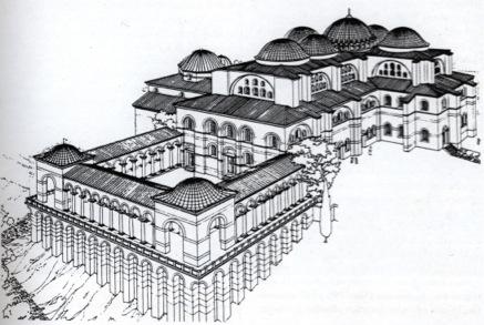 Реконструкция внешнего вида храма апостола Иоанна в Ефесе. Источник: